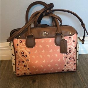 Coach bandana butterfly handbag in white and pink